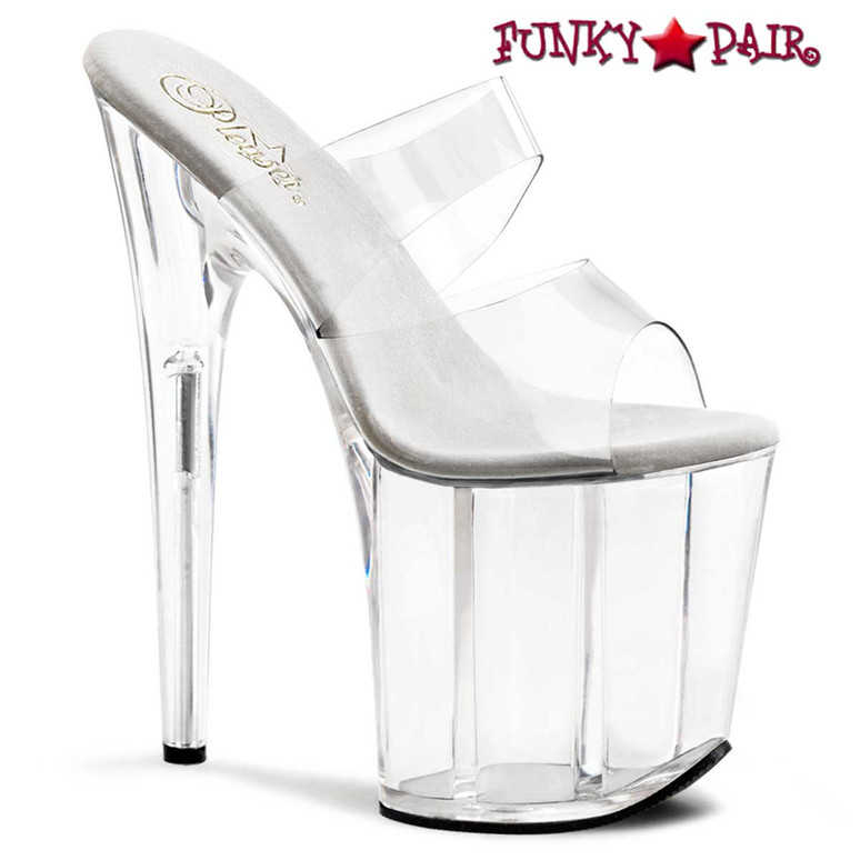 """Flamingo-802, 8"""" Clear Stripper Shoes Platform Slide with Double Band by Pleaser"""