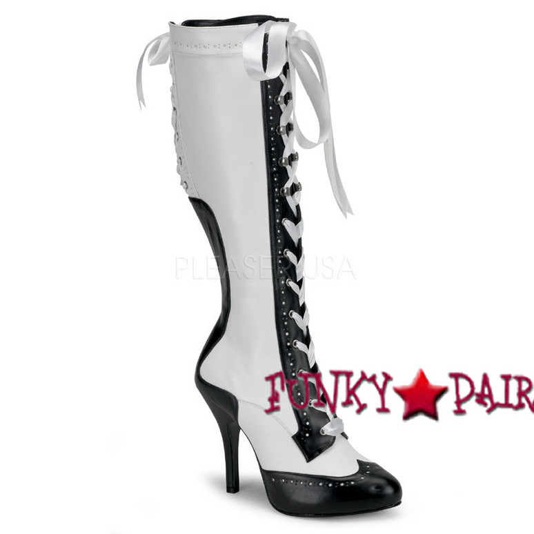 White/Black Tempt-126 Lace up Knee High Boot | Bordello Boots