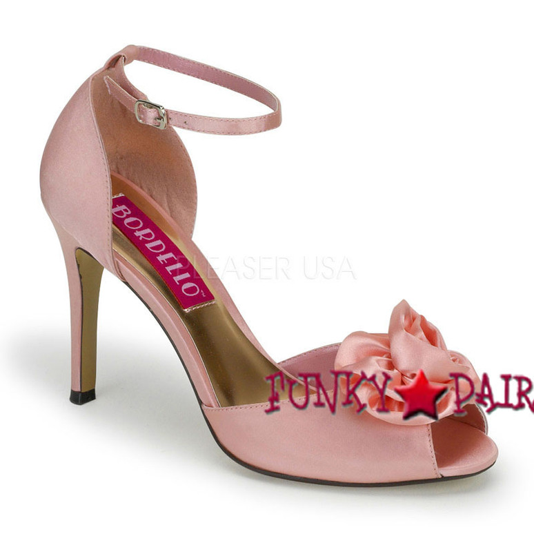 Rosa-02, 3.75 Inch Heel Peep Toe Sandal with Rose Made By Bordello Pink