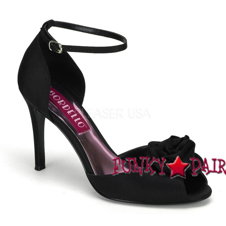 Rosa-02, 3.75 Inch Heel Peep Toe Sandal with Rose Made By Bordello Black