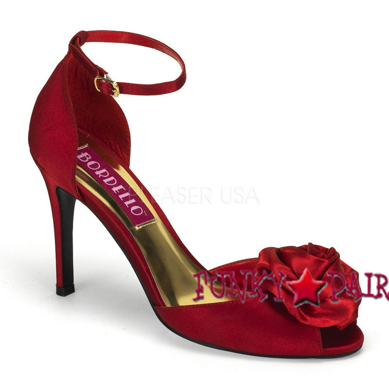 Rosa-02, 3.75 Inch Heel Peep Toe Sandal with Rose Made By Bordello Red