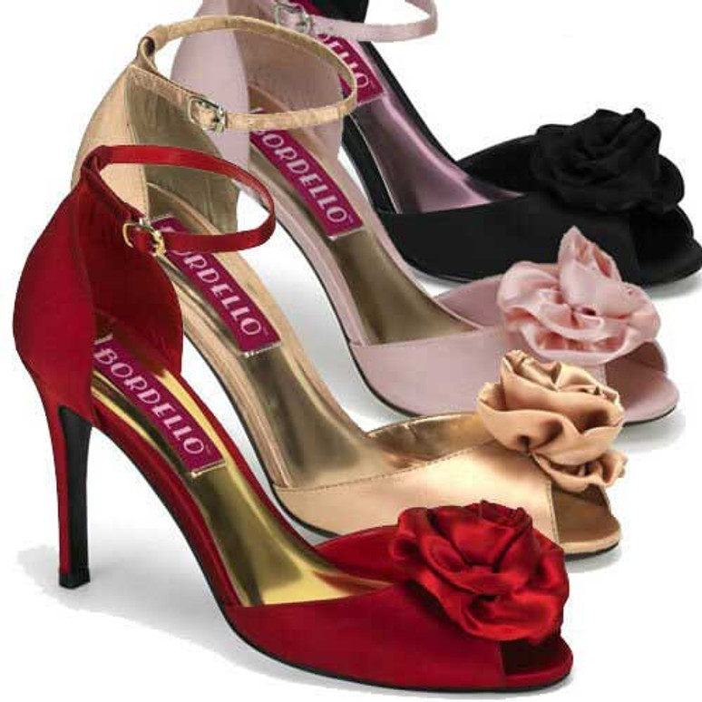 Rosa-02, 3.75 Inch Heel Peep Toe Sandal with Rose Made By Bordello
