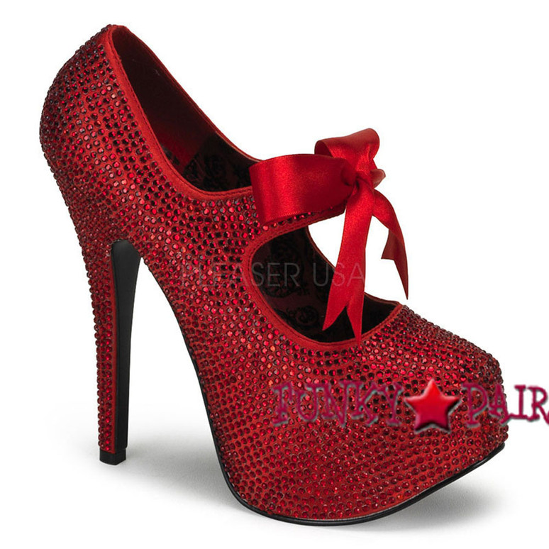 Red Platform Rhinestone Shoes