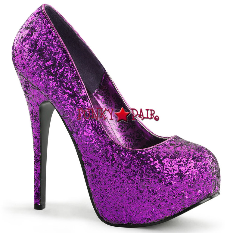 Teeze-06G, 5.75 Inch High Heel with 1.75 Inch Glitter Platform Pump