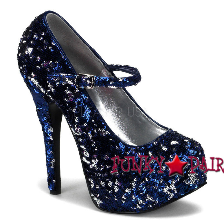 Teeze-07SQ, Blue Sequin Maryjane Platform Pump | Bordello Shoes