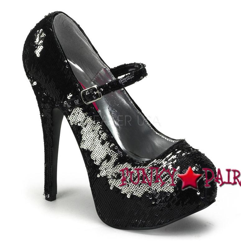 Black Sequin Maryjane Platform Pump | Bordello Shoes Teeze-07SQ,