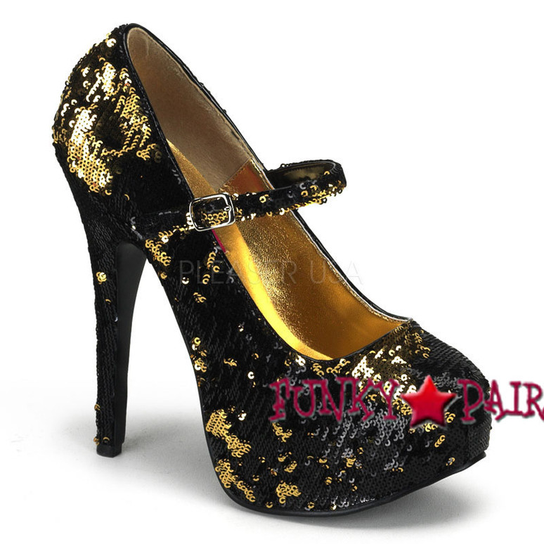 Gold Sequin Maryjane Platform Pump | Bordello Shoes Teeze-07SQ,