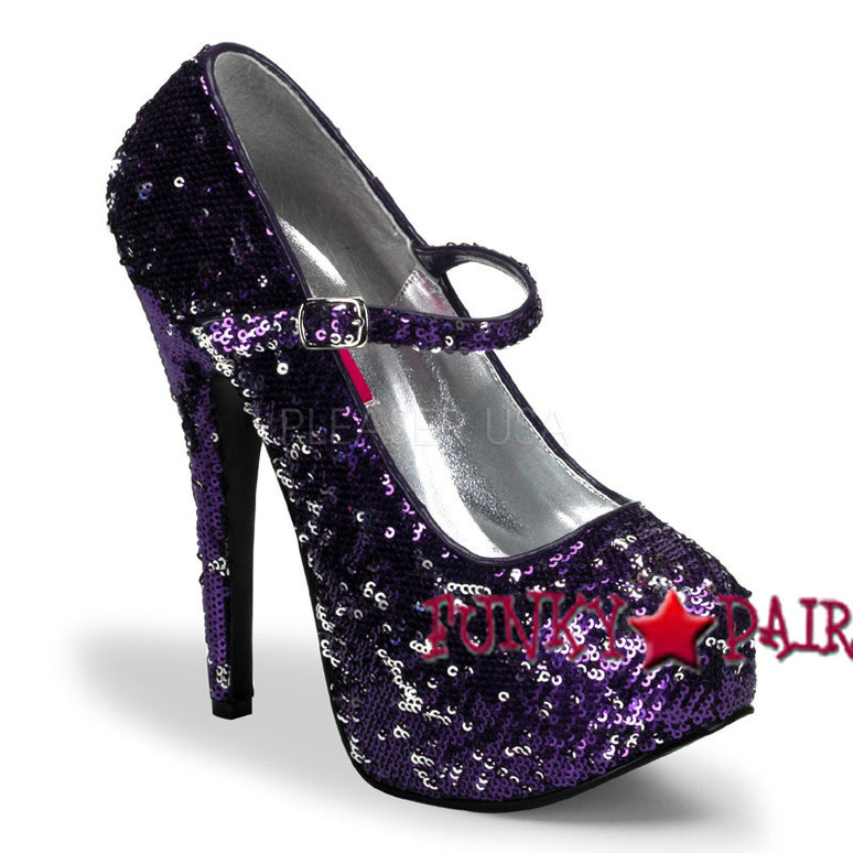 Teeze-07SQ, Purple Sequin Maryjane Platform Pump | Bordello Shoes