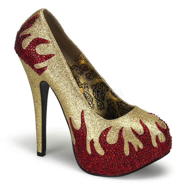 Teeze-27, Platform Pump with Rhinestone Flame color Gold/Red