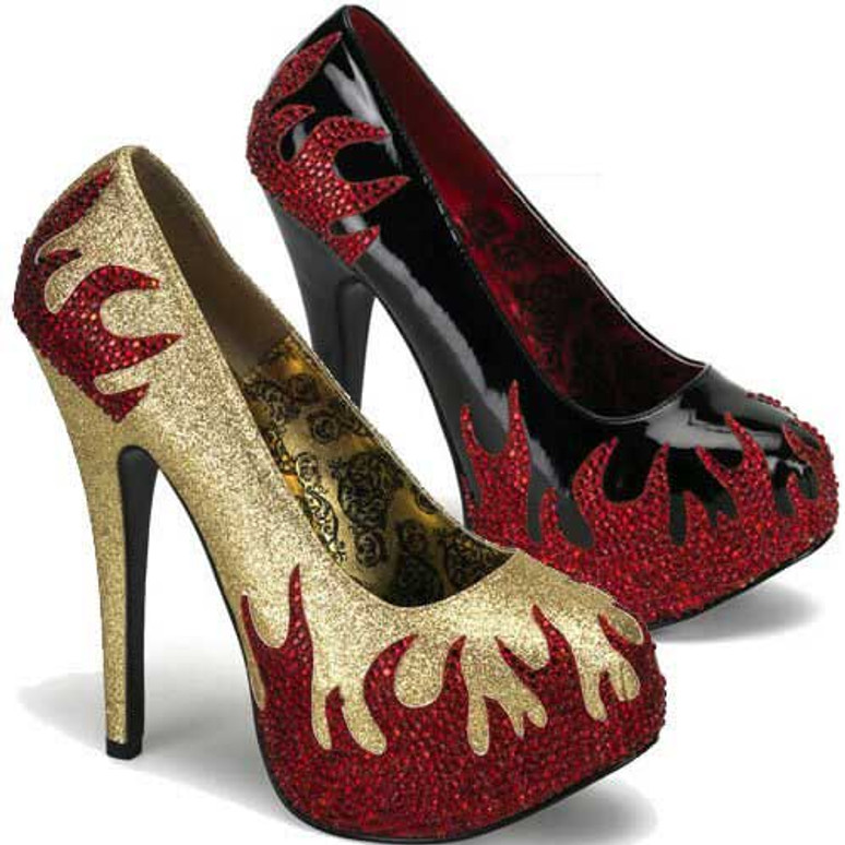 Teeze-27, 5.75 Inch High Heel with 1.75 Inch Platform Pump with Rhinestone Flame