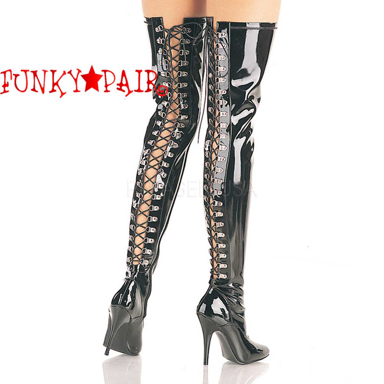 Pleaser | Seduce-3063, 5 Inch Open Back D-ring Lace-up Thigh Boot