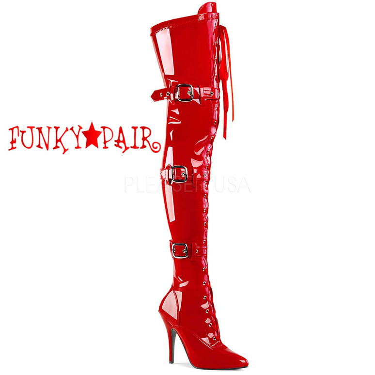 Red Lace up Thigh High Boots Pleaser | Seduce-3028,