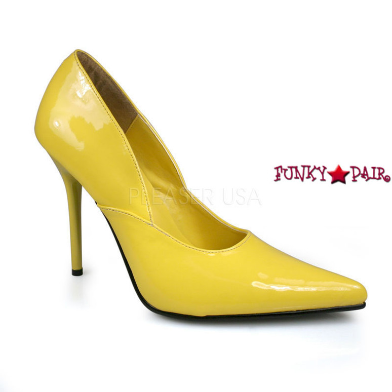 Yellow Milan-01, 4.5 Inch High Heel Classic Pump Made By PLEASER Shoes