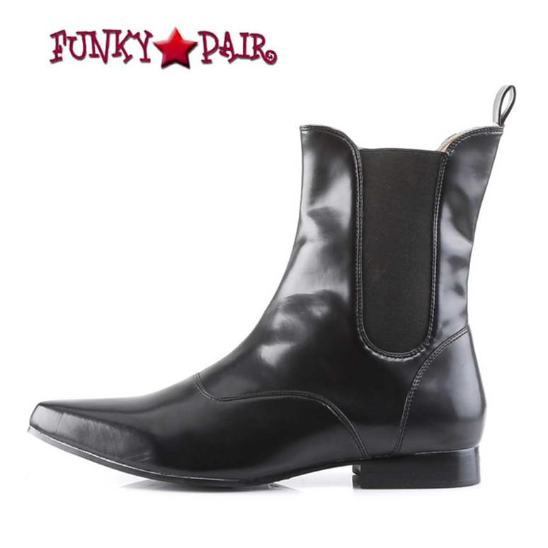 Brogue-02 * Black Winklepicker Ankle Boot Demonia inner side view