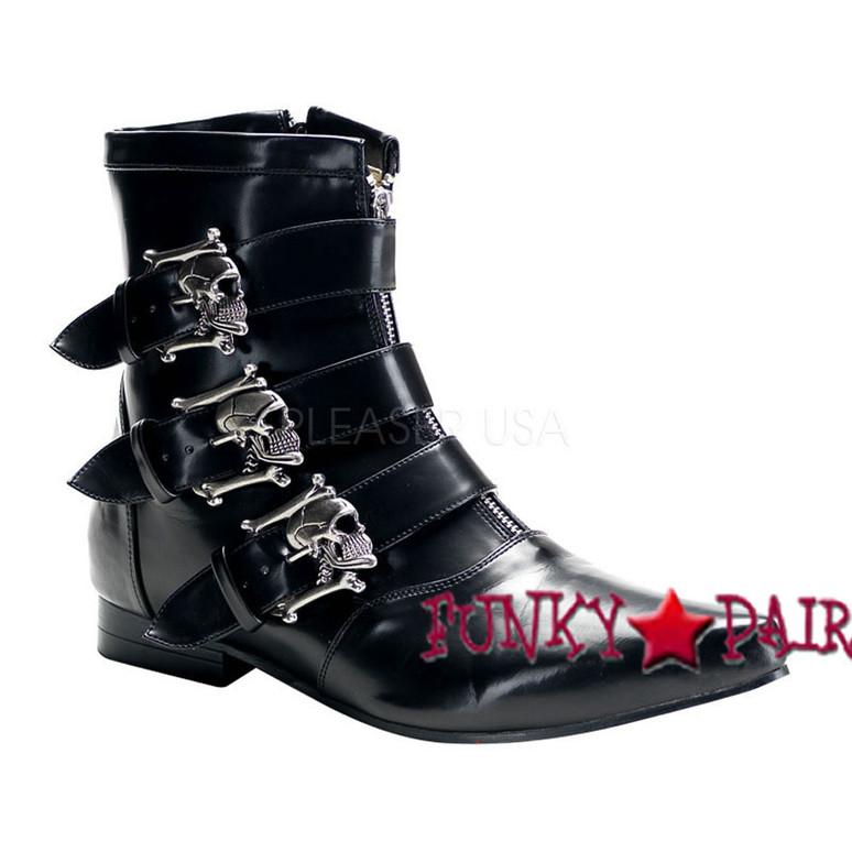 Demonia BROGUE-06  Winklepicker Boots with Skull Buckles,