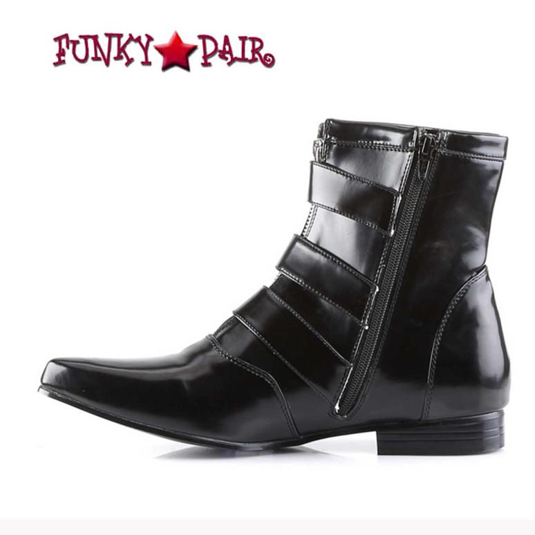 BROGUE-06, Winklepicker Boots with Skull Buckles zipper side view