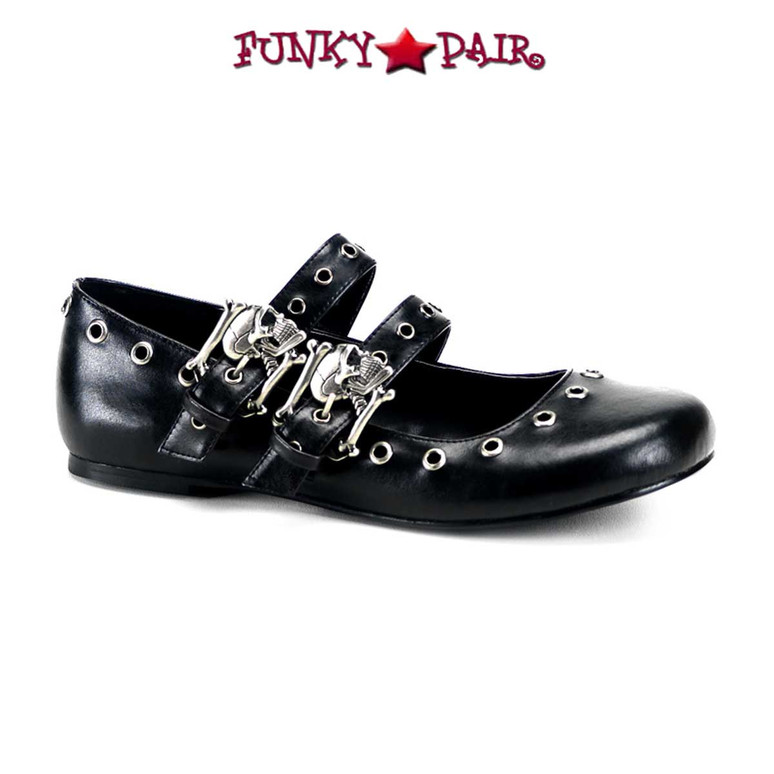 Demonia Shoes | DAISY-03, Skull Buckle Flat