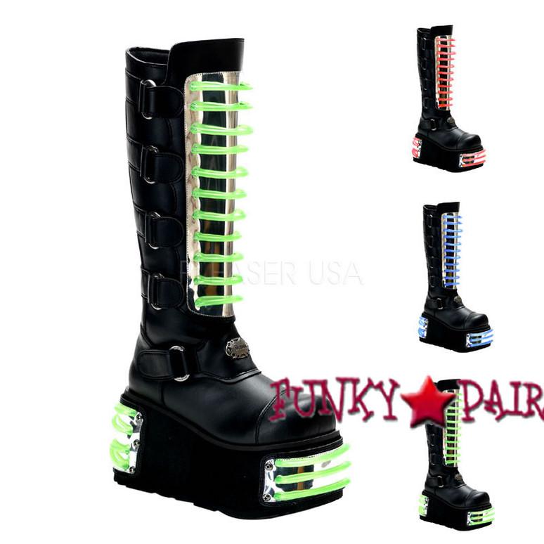 Demonia | Men Techno-854uv, Cyber Goth Boots With UV Panels