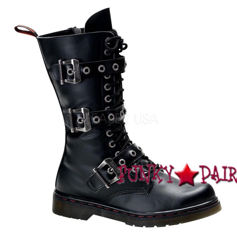 Defiant-303, 3 buckles calf Demonia Gothic  Boots