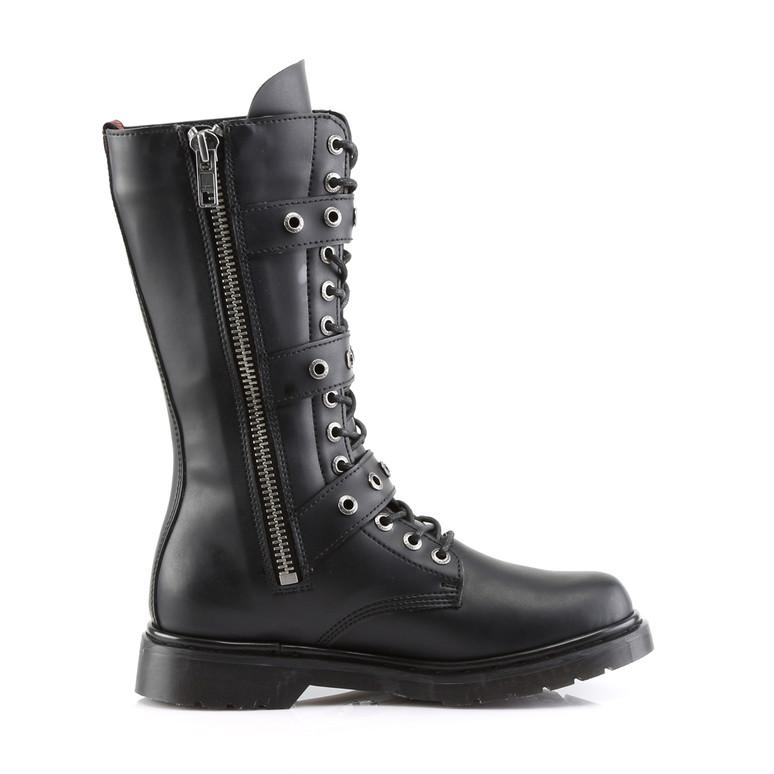 Defiant-303, 3 Buckles Mid-Calf Boots  Demonia zipper side view
