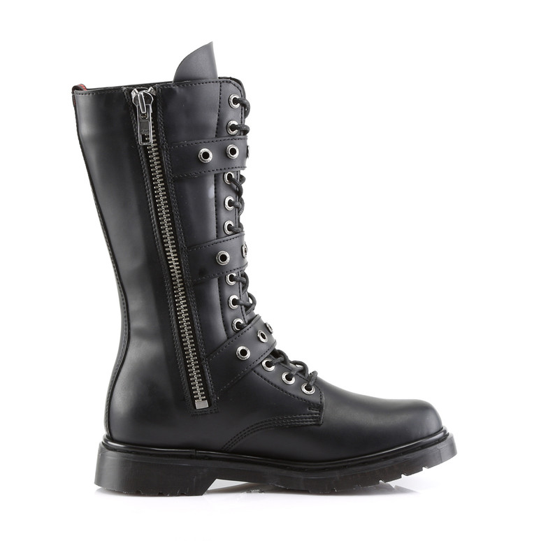 Defiant-303, 3 Buckles Mid-Calf Boots  Demonia zipper side view