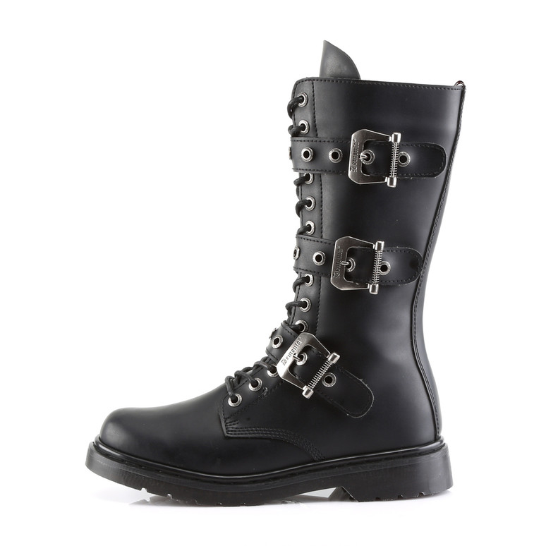 Defiant-303, 3 Buckles Mid-Calf Boots  Demonia side view