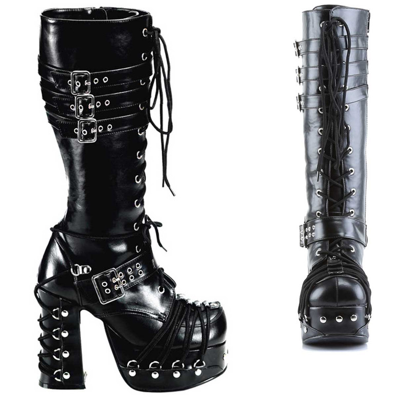 Charade-206, Charade-206, Goth Punk Lolita Corset Lace Up Knee Boot by Demonia Women's Boots