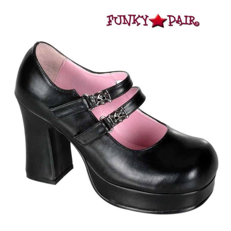 Goth Punk Mary Jane | Gothika-09 Demonia Shoes Black Vegan leather