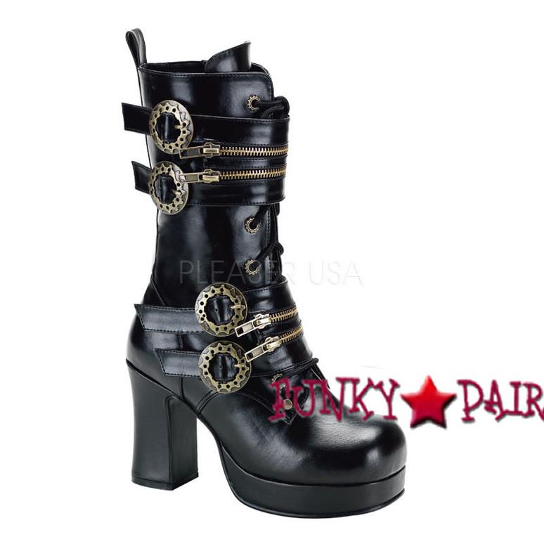 Gothika-100, 3.75 inch high heel Steampunk Calf Women Punk boots Mady By Demonia