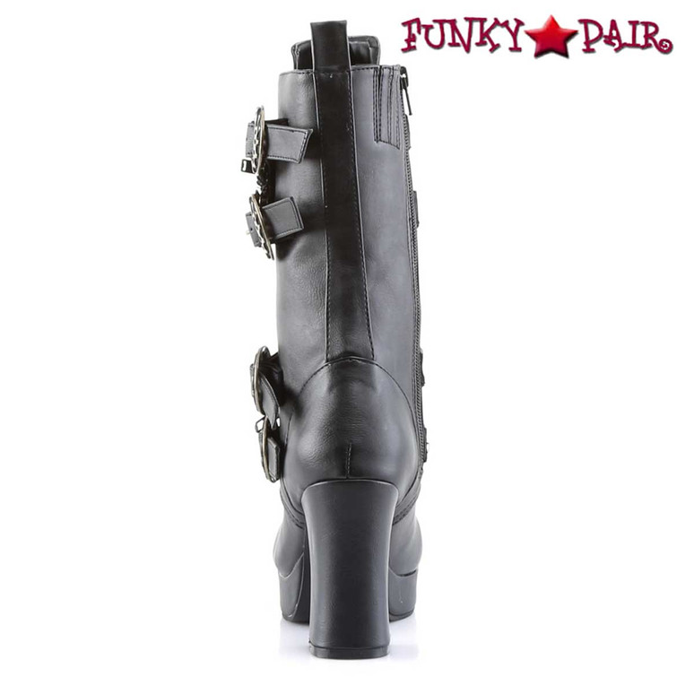 back view Gothika-100, Steampunk Calf Boot with Gear Buckle   Demonia