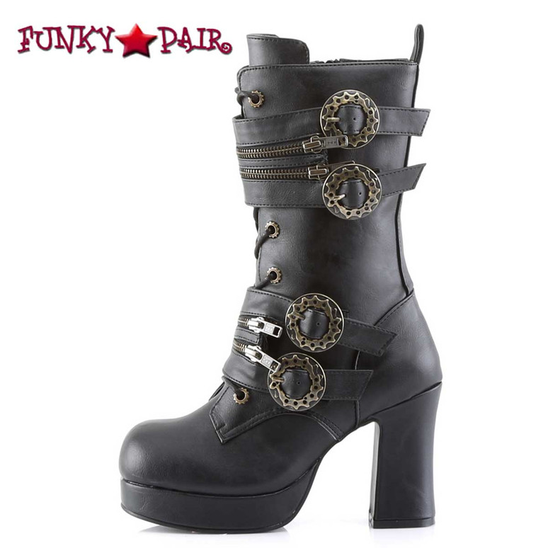Steampunk Calf Boot with Gear Buckle Demonia   Gothika-100, side view