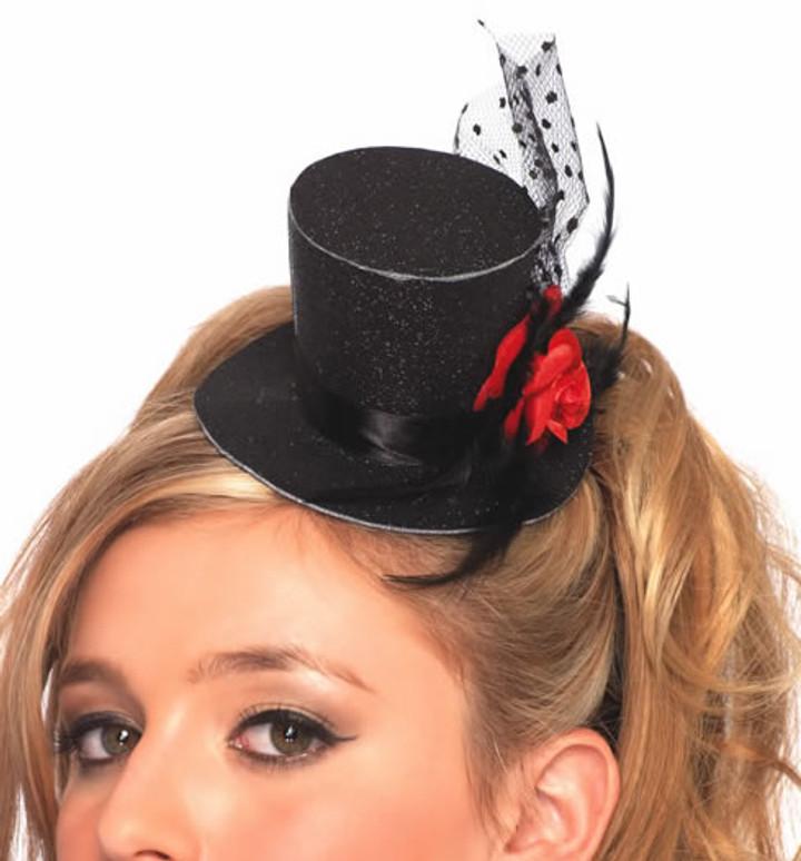 Rose Clip-On Glitter Top Hat