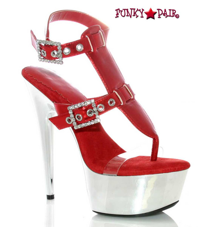 "609-Geneva, Red 6"" Heel Chrome Dancer Shoes by Ellie Shoes"