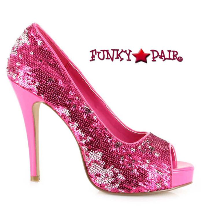 "Ellie Shoes | 415-Flamingo 4"" Sequins Pump pink"