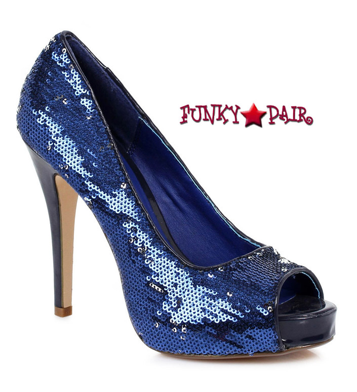 "Ellie Shoes | 415-Flamingo 4"" Sequins Pump blue"