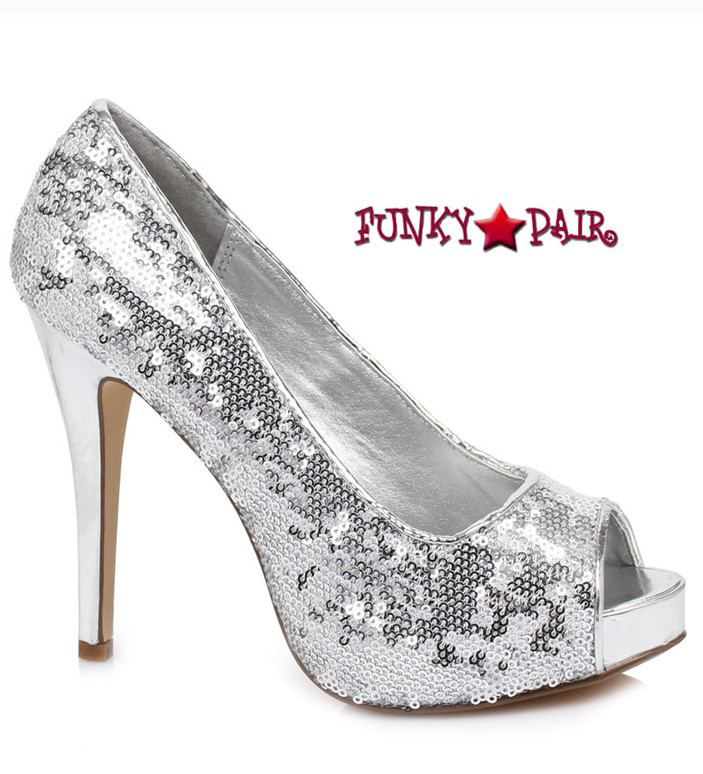 "Ellie Shoes | 415-Flamingo 4"" Sequins Pump silver"
