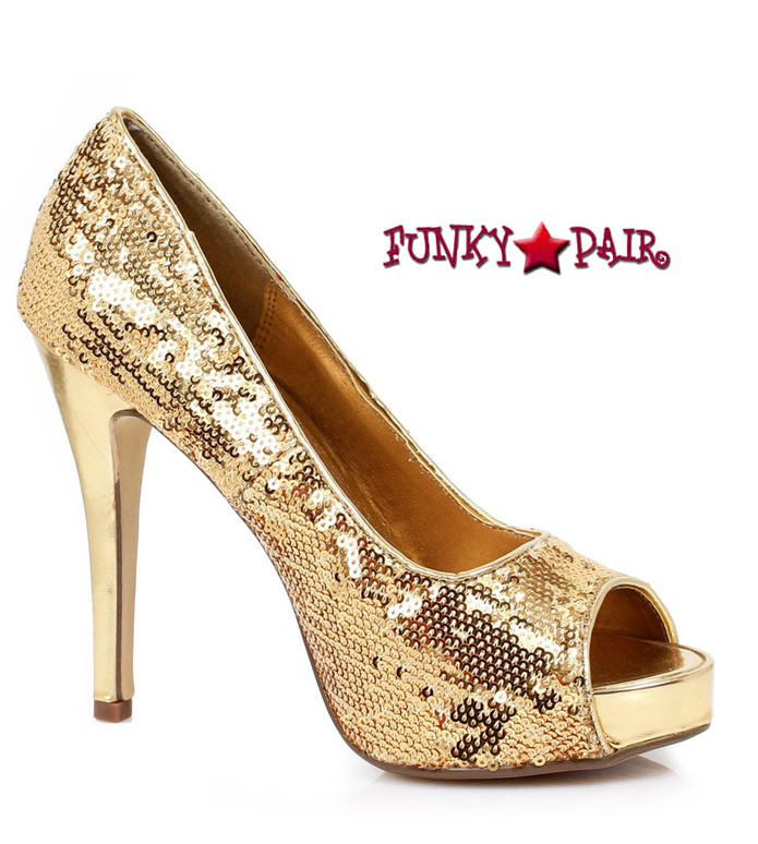 "Ellie Shoes | 415-Flamingo 4"" Sequins Pump gold"