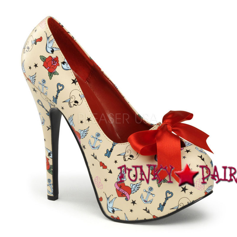 Teeze-12-3, 5.75 Inch High Heel with 1.75 Inch Platform with Satin Bow