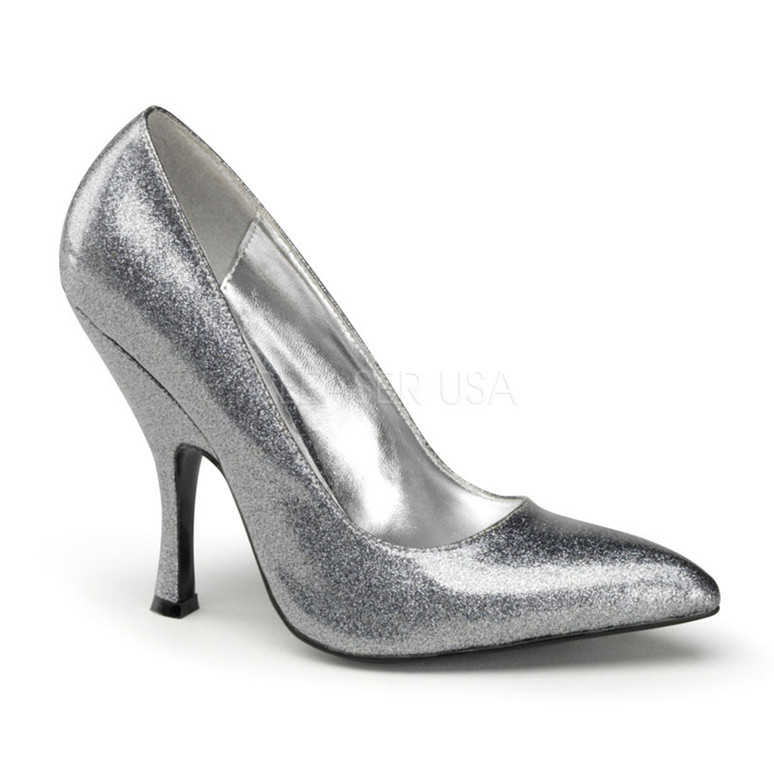 Silver Bombshell-01G, 4.5 Inch High Heel Classic Pump | Pin-Up Couture