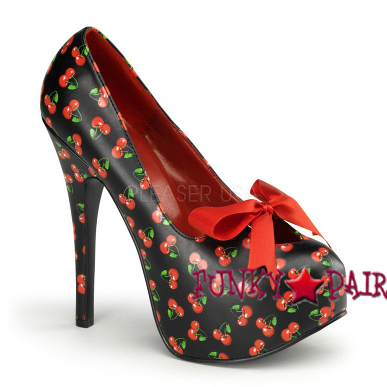 Pin-Up Couture | Teeze-12-6, 5.75 Inch High Heel with 1.75 Inch Platform with Satin Bow