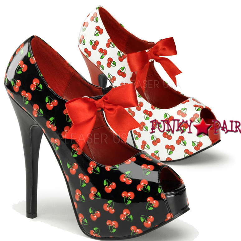 Platform Pump with Cherries Print Pin-Up Couture | Teeze-25-3