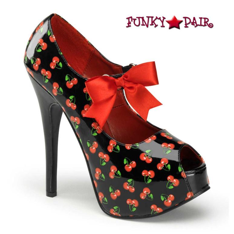 Black Teeze-25-3, Platform Pump with Cherries Print | Pin-Up Couture