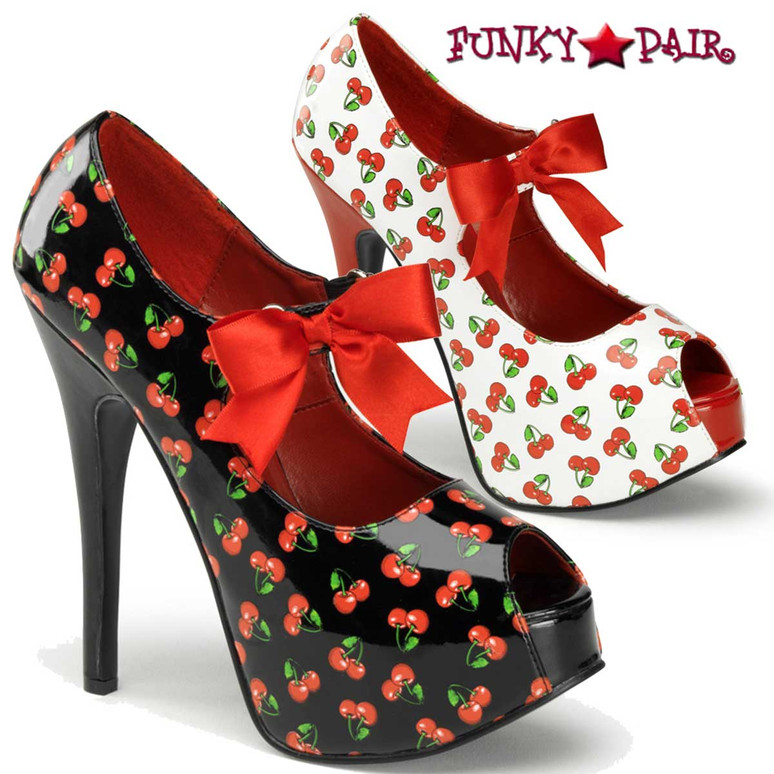 Pin-Up Couture | Teeze-25-3, Platform Pump with Cherries Print