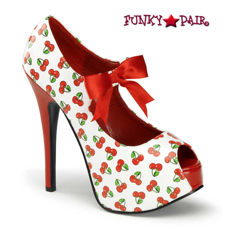 White Teeze-25-3, Platform Pump with Cherries Print | Pin-Up Couture