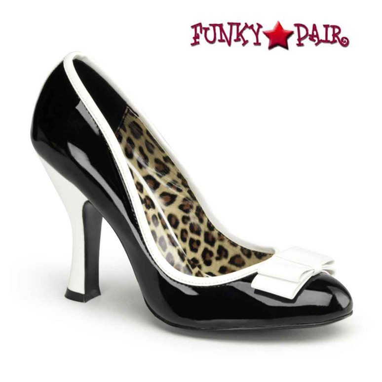 Smitten-01 Black Pump with White Bow Pin-Up