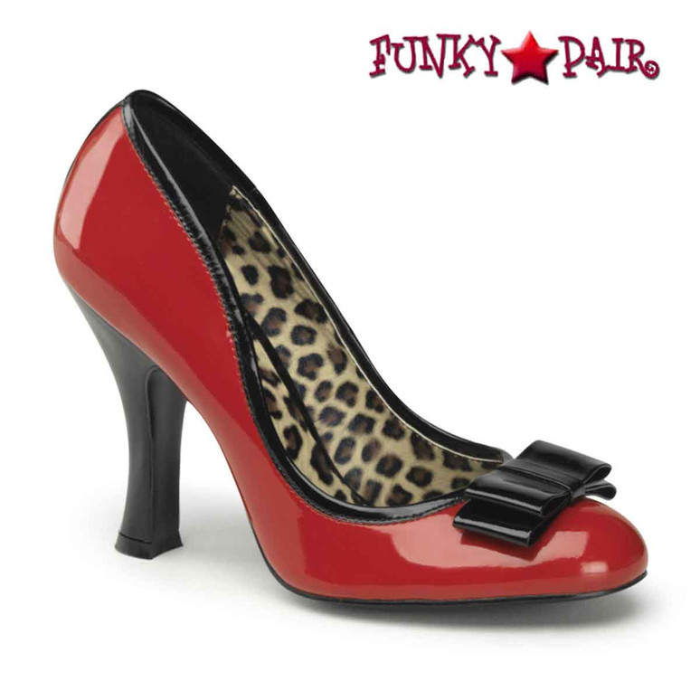 Smitten-01 Red Pump with Black Bow Pin-Up