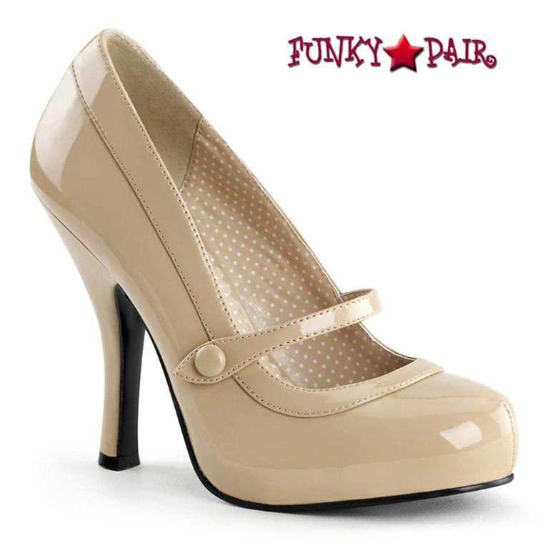 Cutiepie-02, Cream Platform Mary Jane Pump   Pin-Up Shoes