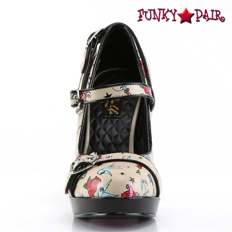Front View Secret-14, Print Platform Maryjane Pump | Pin-Up Couture