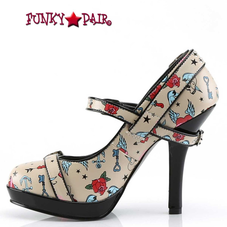 Secret-14, Print Platform Maryjane Pump | Pin-Up Couture  Inner Size View