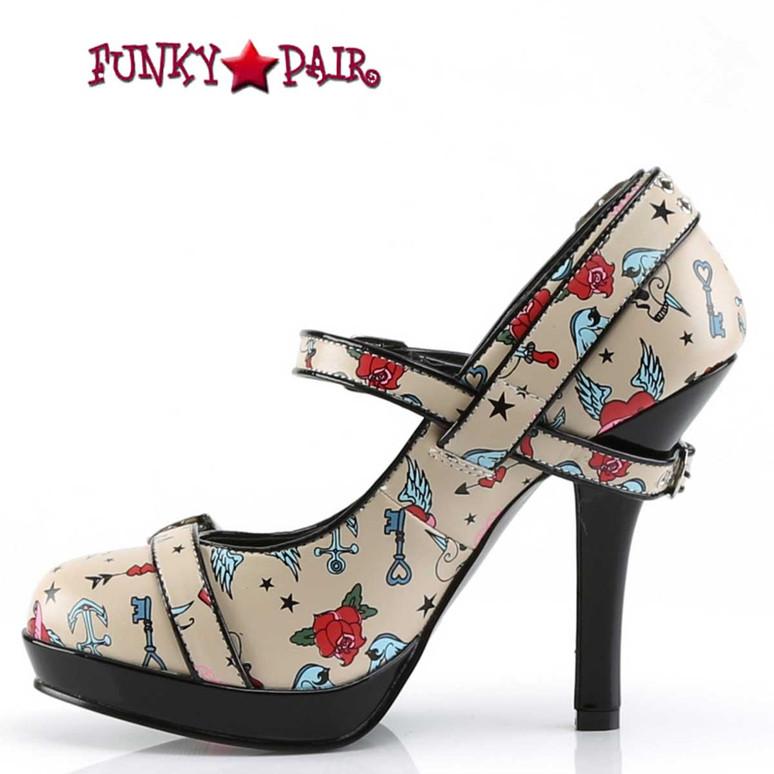 Secret-14, Print Platform Maryjane Pump   Pin-Up Couture  Inner Size View